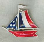 R.n.k.signed Painted Metal Sailboat Pin
