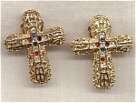 Large Filigree Cross Clip Earrings