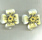 1960's Enamel Flower Clip Earrings.