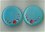 Retro Turquoise Plastic & Rhinestone Earrings