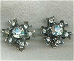 Flower Motif Rhinestone Clip Earrings