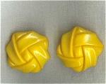 Retro Yellow Plastic Clip Earrings.