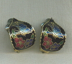 Black Cloisonne Enamel Clip Earrings
