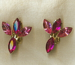 Pink Large Marquis Rhinestone Clip Earrings