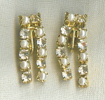 Trifarii Rhinestone And Faux Pearl Earrings