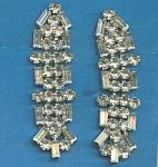 Vintage Long Rhinestone Screw Back Earrings