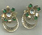 Vintage Green Rhinestone Flower Earrings