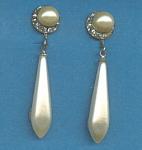 Vintage Faux Pearl Rhinestone Dangle Earrings