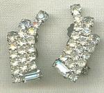Retro Clear Rhinestone Clip Earrings.