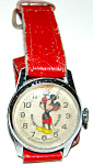 Vintage Disney Mickey Mouse Wrist Watch W Red Band