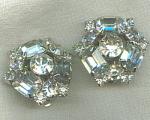 Vintage Clear Rhinestone Clip Earrings