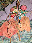 Pair Antique Indonesian Wooden Rod Puppets