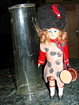 Vintage Celluloid Girl Guard Doll W Tartan Dress