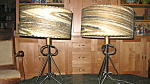 Vintage Pair Retro Wrought Iron 50s Lamps Paper Shades