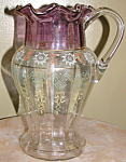 Antique Czech Ruffled Enameled Hand Blown Water Pitcher