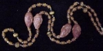 Antique Cabachon Honey Amber Necklace W Crvd Faces 26in