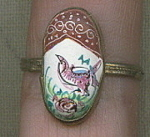 Vintage Hand Painted Enamel Costume Jewelry Ring.
