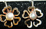 Delicate Vintage Gf Cultured Pearl Shamrock Earrings
