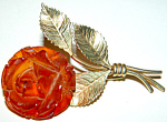 Vintage Gold Filled Carved Amber Figural Rose Brooch