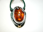 Superb Vintage Handmade Sterling Silver Amber Ring