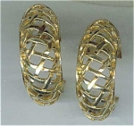 Large Lattice Open Work Earrings Goldtone