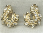 Avon Large Rhinestone Pierced Earrings