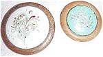 Pair 50s Wood Enamel On Copper Brooch Es Mod