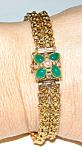 Vintage 14-18k Bracelet W Emerald Diamond Pearl Clasp