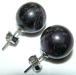 Vintage Silver 12.5mm Round Amethyst Pierced Earrings