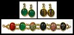 Vintage Huge Carved Agate Gf Scarab Bracelet &2pr Earrings