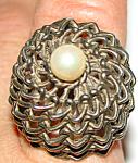 Unique Brutalist Modernist Basket Vintage 10k Plated? Woven Gold Pearl Dome Ring