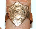 Unusual Antique 9-10k Gold Shield Crest Ring
