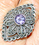 Huge Sterling Marcasite Amethyst Cocktail Ring Sz9.5
