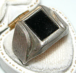 Vintage Sterling Silver Onyx Man's Ring Sz 8.5