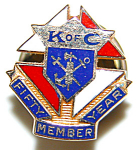 Vintage 14k Enamel Knights Of Columbus 50 Yr Lapel Pin