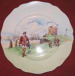 Rare Antique Royal Doulton Plymouth Hoe Scalloped Plate