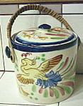 Lovely Japan Antique Biscuit Barrel Jar W Rattan Handle