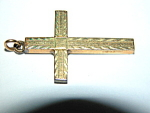 Vintage Gold Filled Etched Cross Pendant