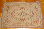 Sweet Antique Handmade Hooked Flower Floral Rug
