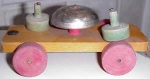 Charming Old Dutch Wooden Pull Toy W Bell Nr