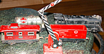 Marx Lithograph Tin Train Set W Engine Caboose Crossing