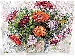 Flowers In A Vase By J.trochut Art Print
