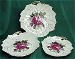 Three Pretty Rose Decorated Trinket Dishes