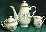 Norcrest French Bouquet Three Piece Coffee Set