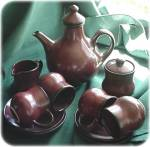 Sundo Brown Glazed Stoneware Coffee Set For Four