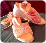 Orange Espadrille Shoes With Sequins