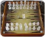 Glass Chess, Checkers, Backgammon Game Set
