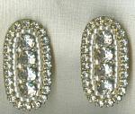 Dago Signed Brass And Rhinestone Clip Earrings