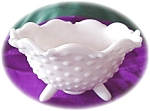L E Smith Hobnail Three Footed Milk Glass Bowl