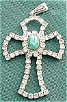 Rhinestone Cross With Green Stone